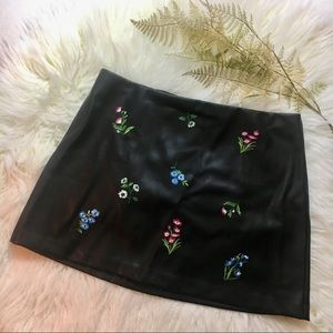 Express Floral Embroidered Faux Leather Skirt
